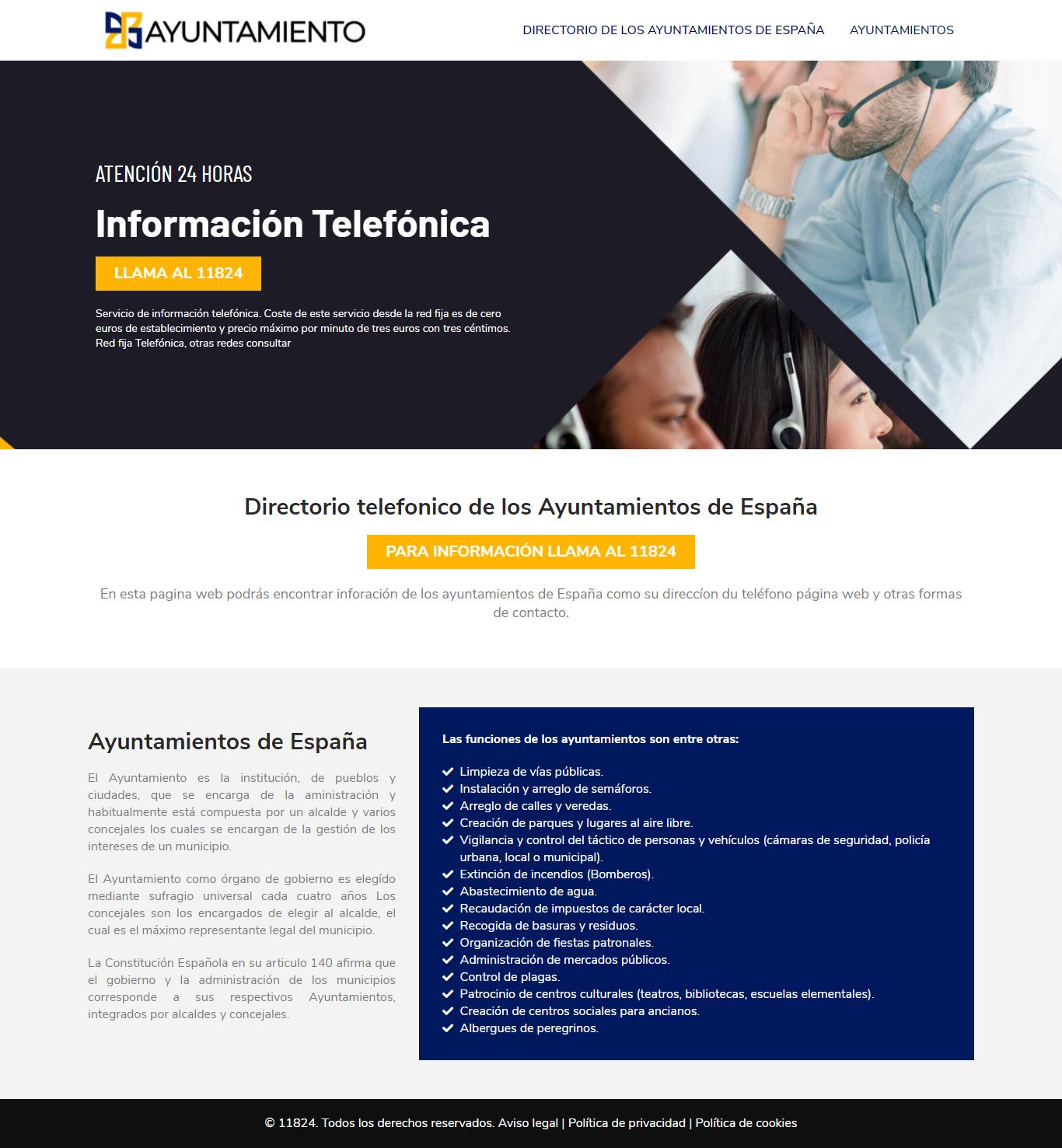 Teléfono ayuntamiento españa